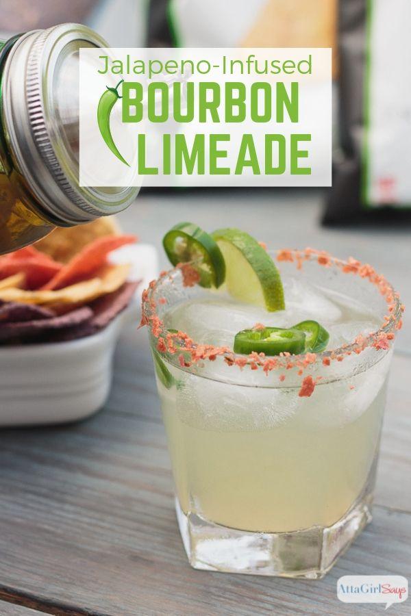 pouring jalapeno bourbon limeade into a glass