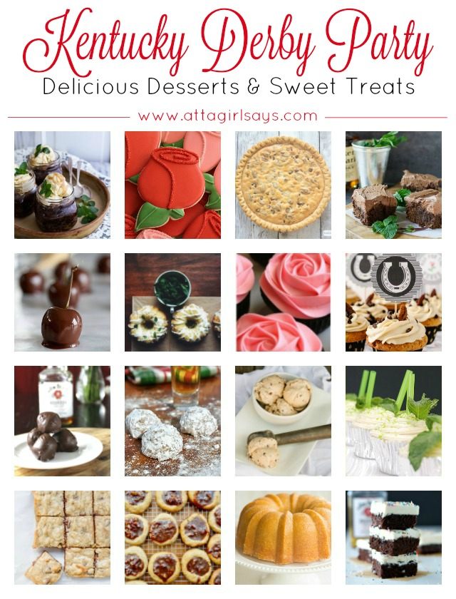Plan the ultimate Kentucky Derby Party menu with this collection of delicious desserts and sweet treats, many of them bourbon-soaked. You'll also find recipes for mint juleps and other Kentucky Derby cocktails, as well as appetizers and savory snacks to serve while you watch the Run for the Roses. Click for a collection of more than 50 Kentucky Derby party food & drink recipes. #kentuckyderby #partyfood #kentuckyderbyparty #derbydayparty #derbyday #partyideas