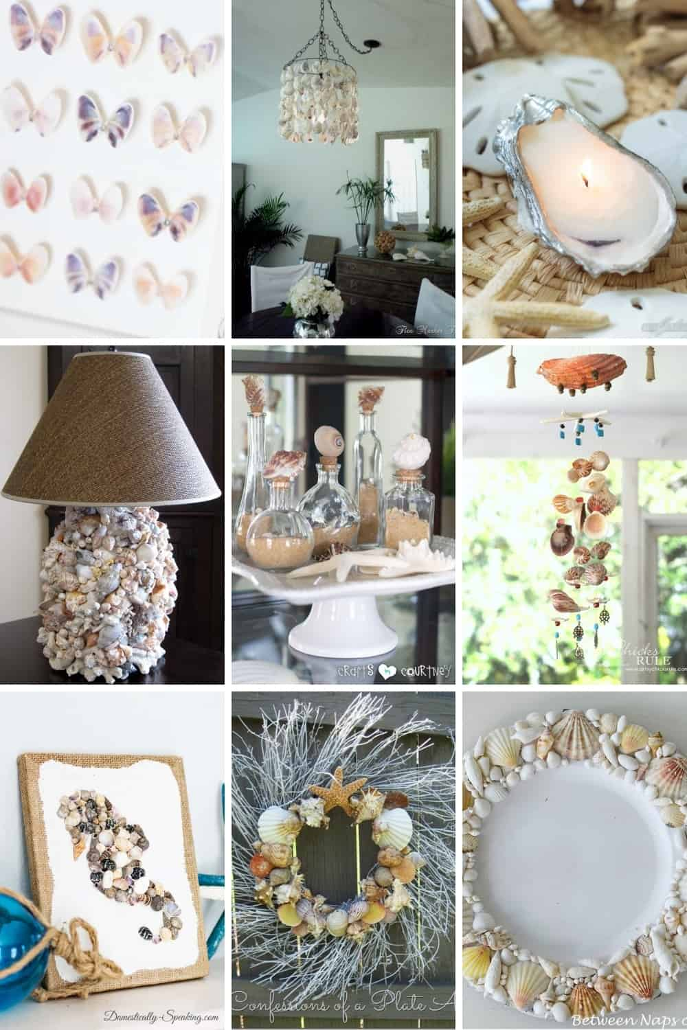 collage of home decor items and crafts made from seashells