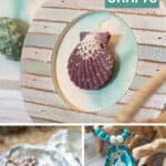 collage of three different oyster shell and seashell crafts