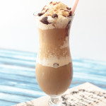 snickerdoodle frappe in a hurricane glass