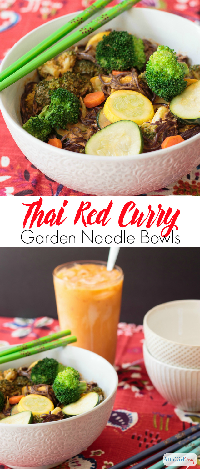 The next time you're craving takeout make these Thai red curry noodle bowls instead. They're packed with garden fresh vegetables, plus they're quick and easy to make. #sponsored #WorldMarketTribe