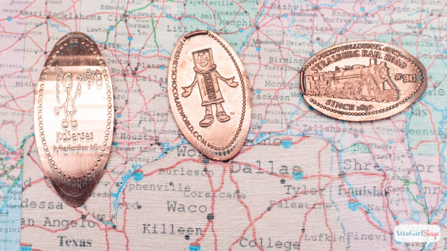 What a clever and easy way to display pressed pennies from your travels. Kids will enjoy starting a collection of these inexpensive vacation souvenirs.