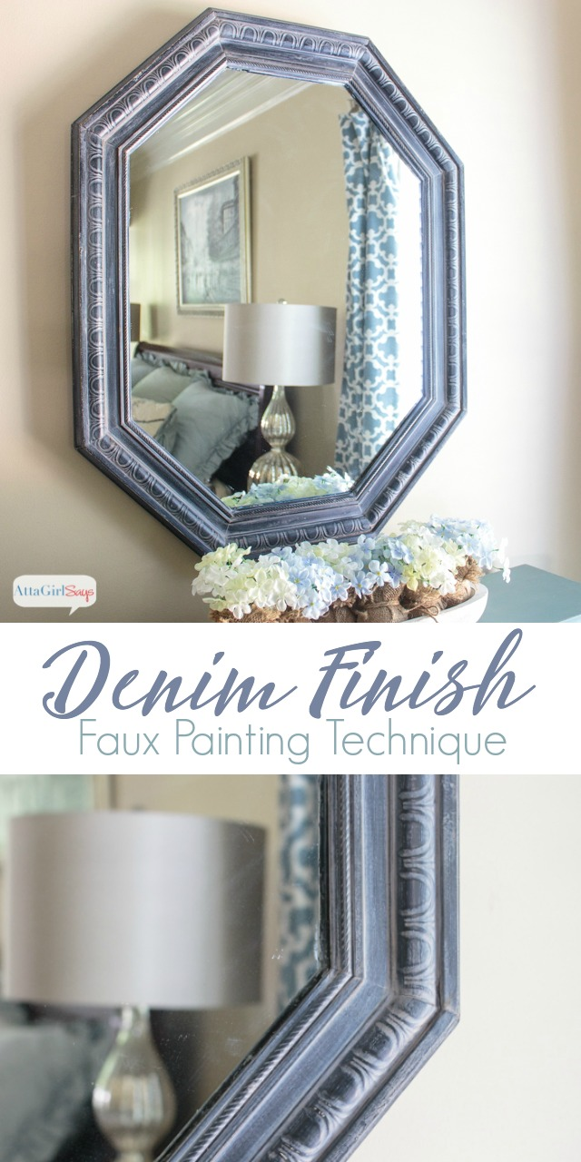 Learn how to easily create the look of denim with this easy faux painting technique using two different colors of Chalky Finish paint and wax. #sponsored #decoartprojects