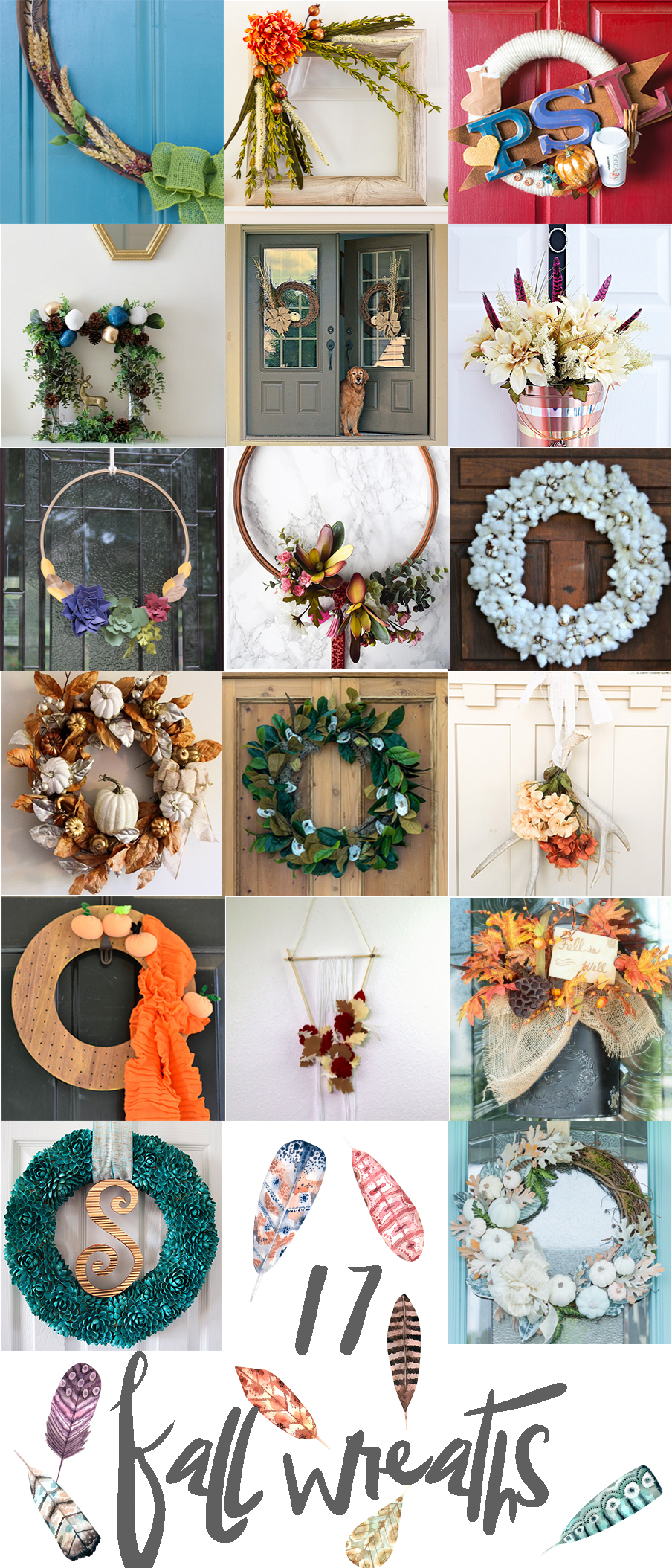 Check out all this lovely fall door decor. There are so many great ideas, from traditional wreaths to seasonal alternatives.