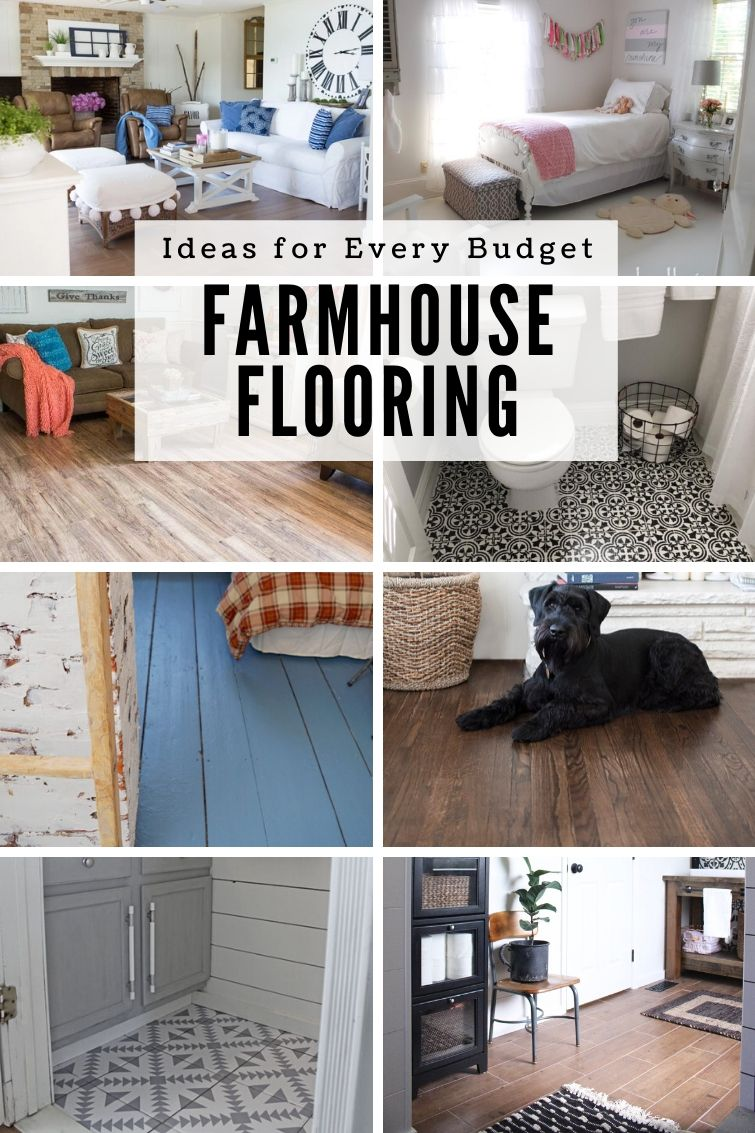 collage with eight different farmhouse flooring ideas