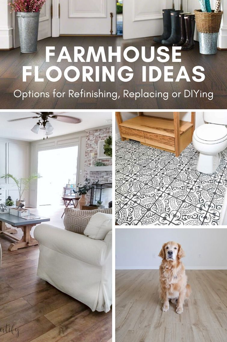 collage with three different types of farmhouse style floors