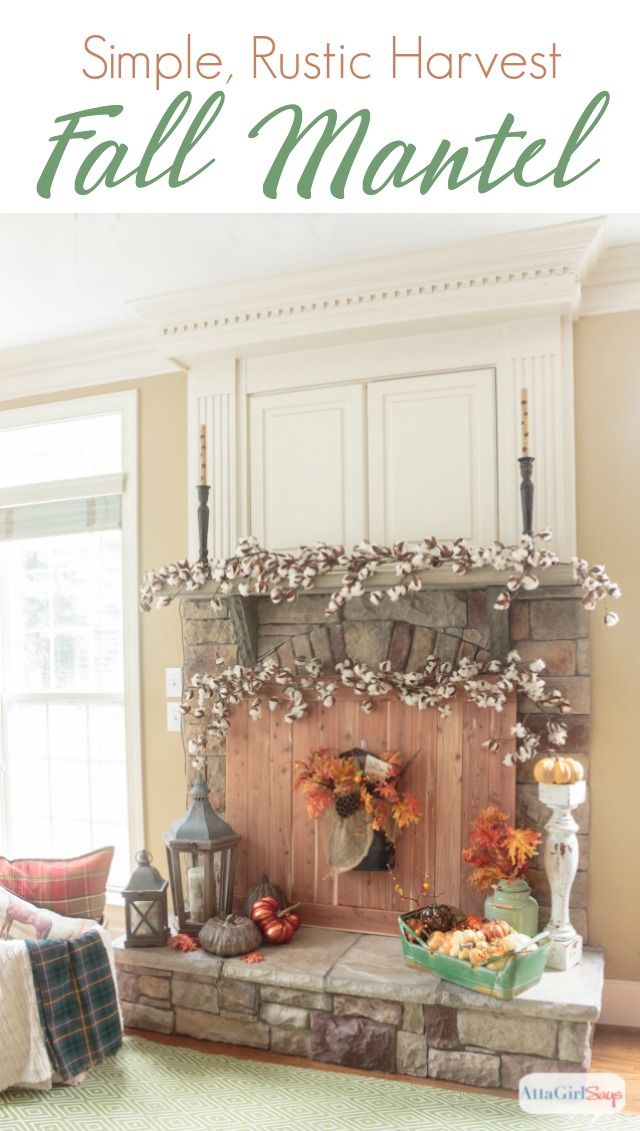 These fall fireplace mantel decorating ideas combine cedar wood, cotton bolls, pumpkins, lanterns and colorful fall leaves. The design is inspired by a rustic fall harvest.