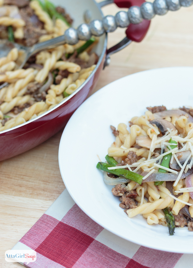 For those nights when you're too busy to cook, here's a recipe that is ready in 15 minutes.. Our family enjoys this Italian sausage pasta with mushrooms, onions and asparagus, but you can use any seasonal vegetables you have on hand. And did I mention that it only costs $10 and makes enough to feed six people? Dinner doesn't get much easier. #sponsored