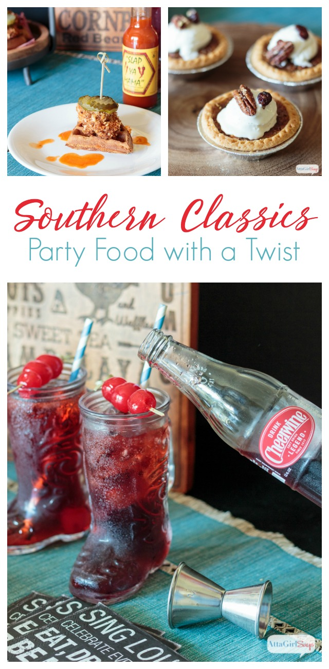 "Set out a tasty spread of classic southern dishes, including Nashville Hot Chicken and Sweet Potato Waffle Bites, mini pecan pies bourbon Cheerwine soda cocktail, to watch ""The CMA Awards."" #CMAAwards50 #worldmarkettribe #ad"