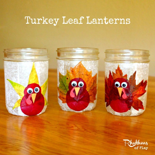 These turkey leaf lanterns are just one of the adorable Thanksgiving turkey crafts you can make with leaves. Click to find links and instructions for them all.