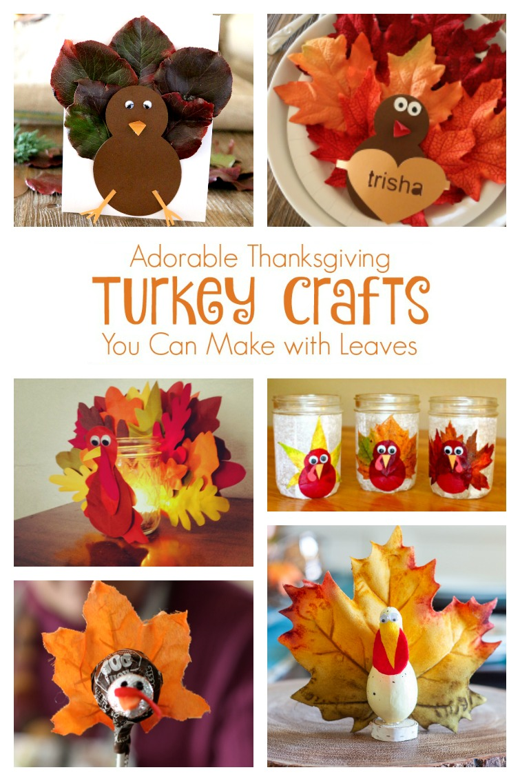 collage showing Thanksgiving turkey crafts made with leaves