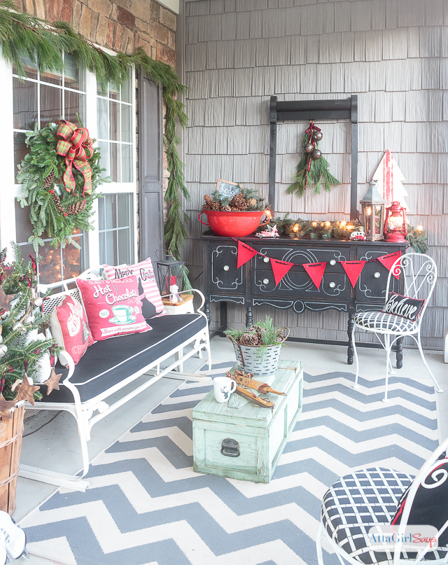 Join me for virtual tours of eight bloggers stunning porches decorated for the holidays. You'll find lots of Christmas front porch decorating ideas -- farmhouse, vintage, rustic, French country and more.
