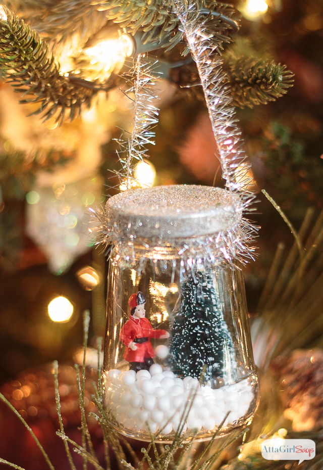 Miniature snow globe Christmas ornament
