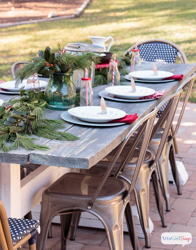 Outdoor Farmhouse Table Set for Christmas Brunch