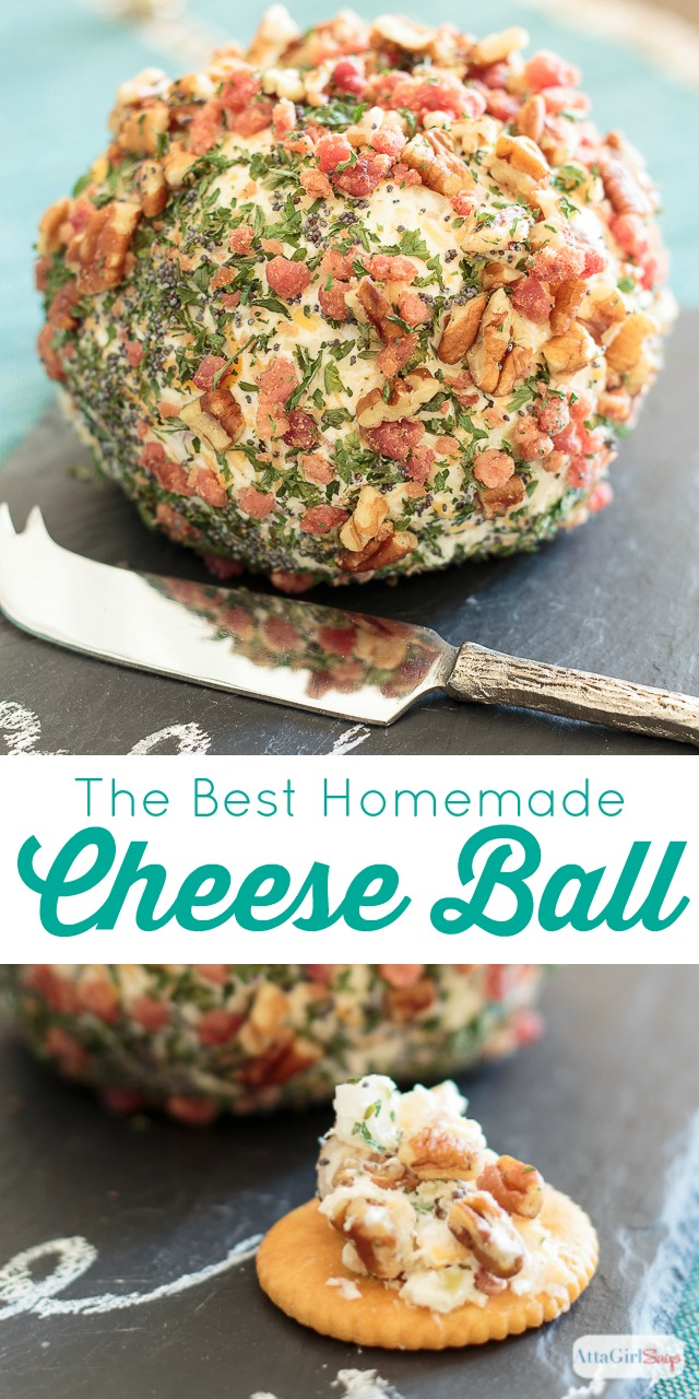 """Made with three types of cheese and a little bit of """"everything"""" else, this homemade cheese ball recipe is a party guest favorite. The recipe makes two cheese balls, so you can serve one and share one. (Content for 21+) #ad #WhenToWine"""