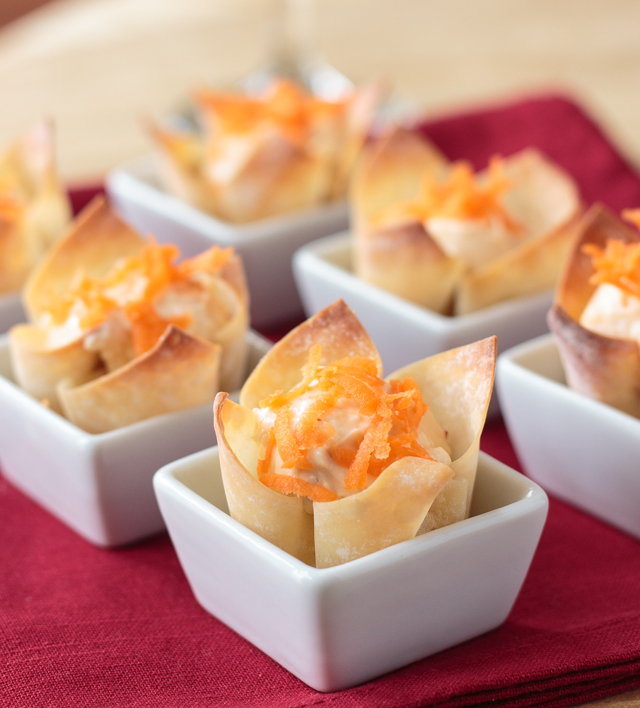 wonton cup appetizers with cream cheese and pepper jelly