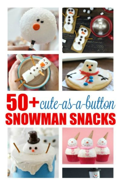 Celebrate snowy days with one of these 50+ cute-as-a-button-nose snowman snacks and beverages. This is the ultimate collection of sweet and savory snowman treats, including melted snowman cookies, marshmallow snowmen and Olaf-inspired cheese sticks and Frosty the snowman cupcakes. If you're planning a Frozen party, you'll find lots of fun food to serve.