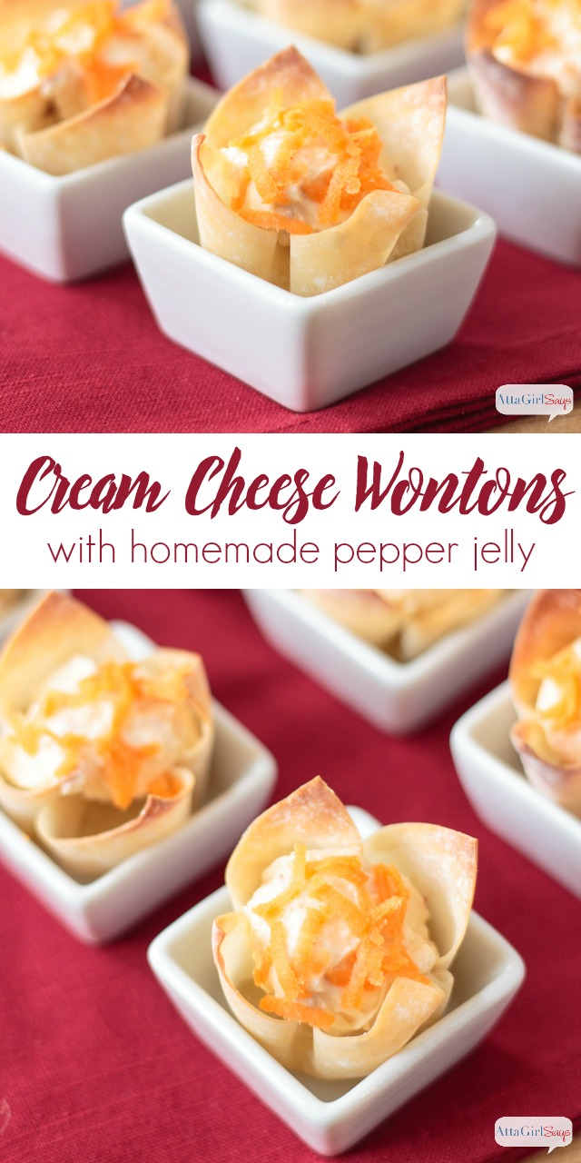bite-sized cream cheese wontons in appetizer cups