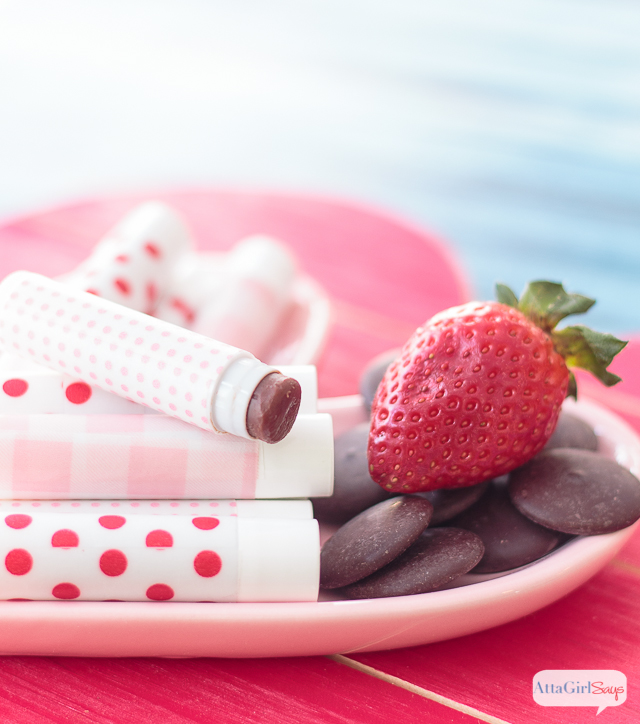 if you love chocolate-covered strawberries, you'll love this moisturizing homemade lip balm made with dark cocoa butter and strawberry flavor oil.