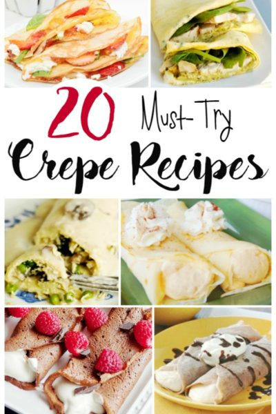 Whether you like savory or sweet, you're sure to find a favorite crepe recipe in this collection of mouth-watering dishes. Crepes are great for breakfast, brunch, lunch, dinner and dessert. And they're such a romantic treat to serve on Valentine's Day. #crepes #valentinesday #romanticdesserts #savorycrepes #dessertcrepes