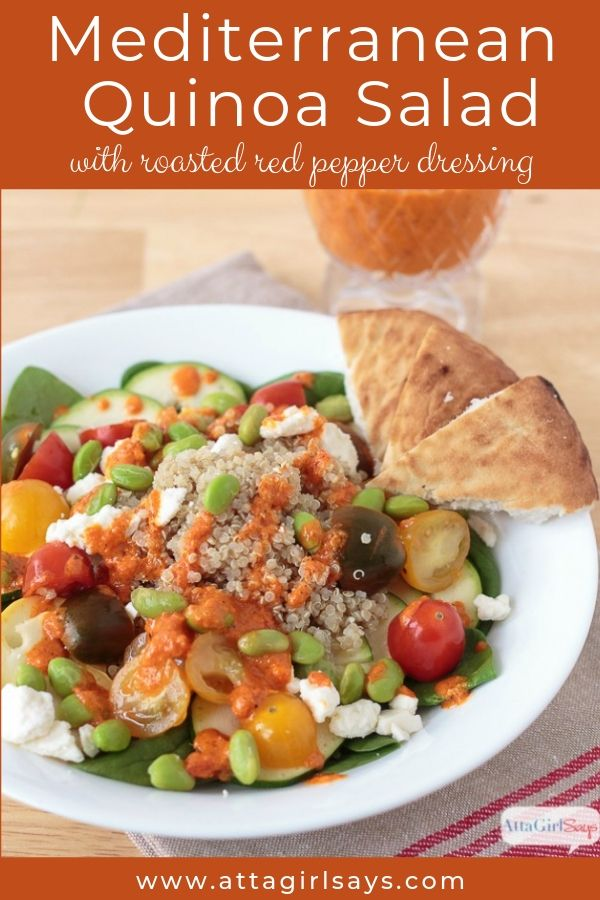 Mediterranean Quinoa Salad with roasted red pepper dressing