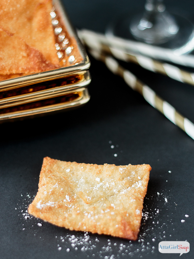 fried wonton envelop dusted with powdered sugar