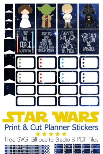 Use the Force to organize your life and your planner! Download these free Star Wars stickers for your planner. Use sticker paper and a Cricut or Silhouette machine to cut them. Free SVG, Silhouette Studio and PDF files available.