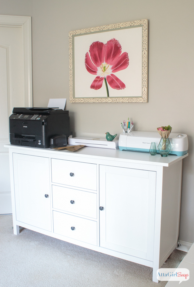 Form meets function in this gorgeous space, a combination craft room and feminine home office. Click to take a virtual tour of 25 beautiful craft rooms and feminine work spaces. You'll be blown away by all the storage ideas, DIY and decorating ideas from professional crafters and your favorite bloggers.