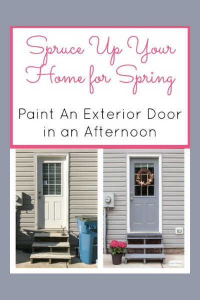 Tackle those outdoor home maintenance chores and spruce up your home for spring. Learn how to paint a door without removing it and the best paint to use to add instant curb appeal to your home. #sponsored