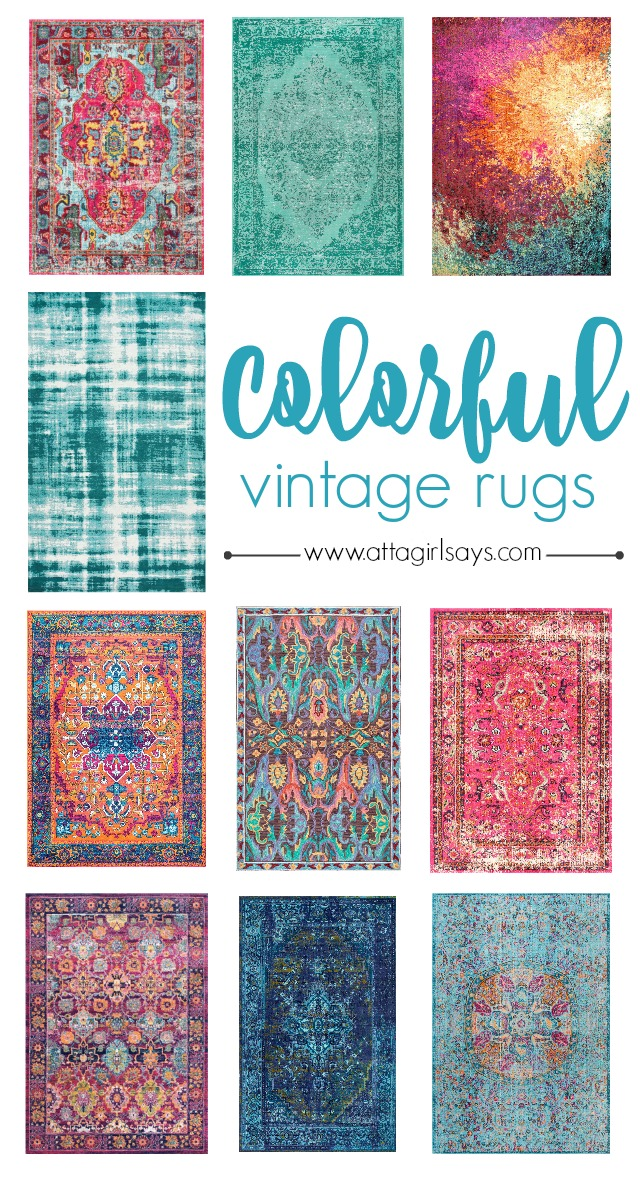 collage photo showing 10 colorful vintage style area rugs