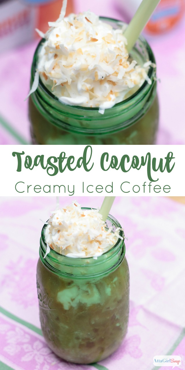 This toasted coconut iced coffee recipe is a creamy, cold, refreshing treat on a hot summer day. #sponsored
