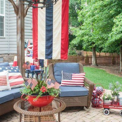 vintage Americana decor on a backyard patio