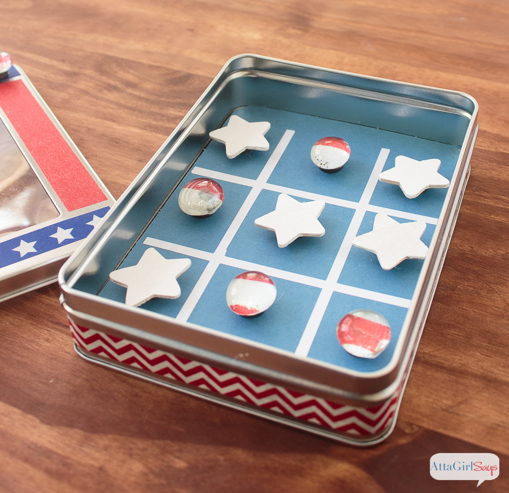 Magnetic Patriotic Tic Tac Toe + More DIY Travel Games for Kids