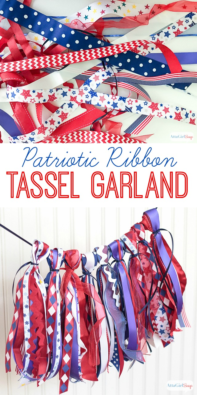 Add some red-white-and-blue style to your holiday by making a flag-inspired tassel garland with festive ribbon. These easy-to-make tassel garlands make great party decorations. Use them on the mantel, on a table or in a photo booth.