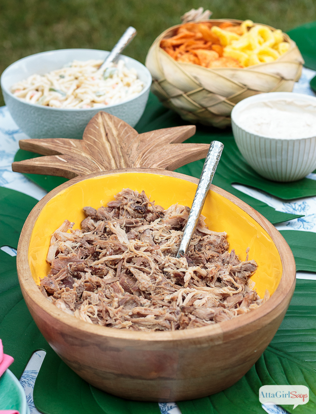 shredded Hawaiian pork in a pineapple shaped bowl