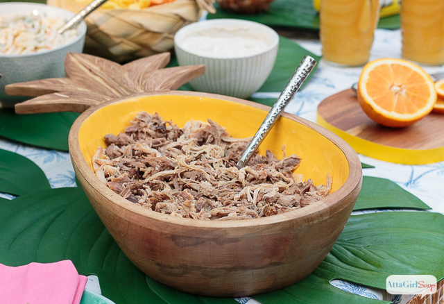 Kalua pork in a pineapple bowl
