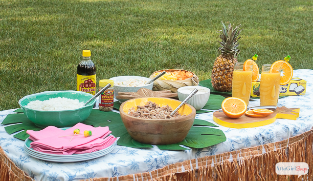 backyard Hawaiian luau feast