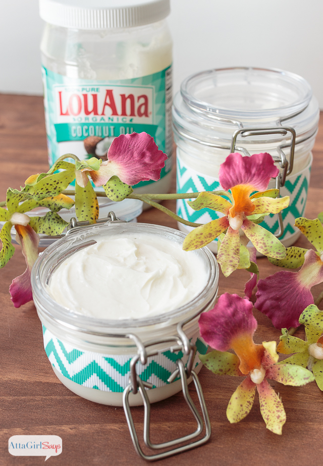 This luxurious, moisturizing homemade coconut oil lotion has a light, floral scent that will remind you of a tropical beach vacation. Made with coconut oil, avocado oil and a blend of fruity and floral essential oils, it's a great way to pamper yourself after a day at the beach. #sponsored #CreateWithOil