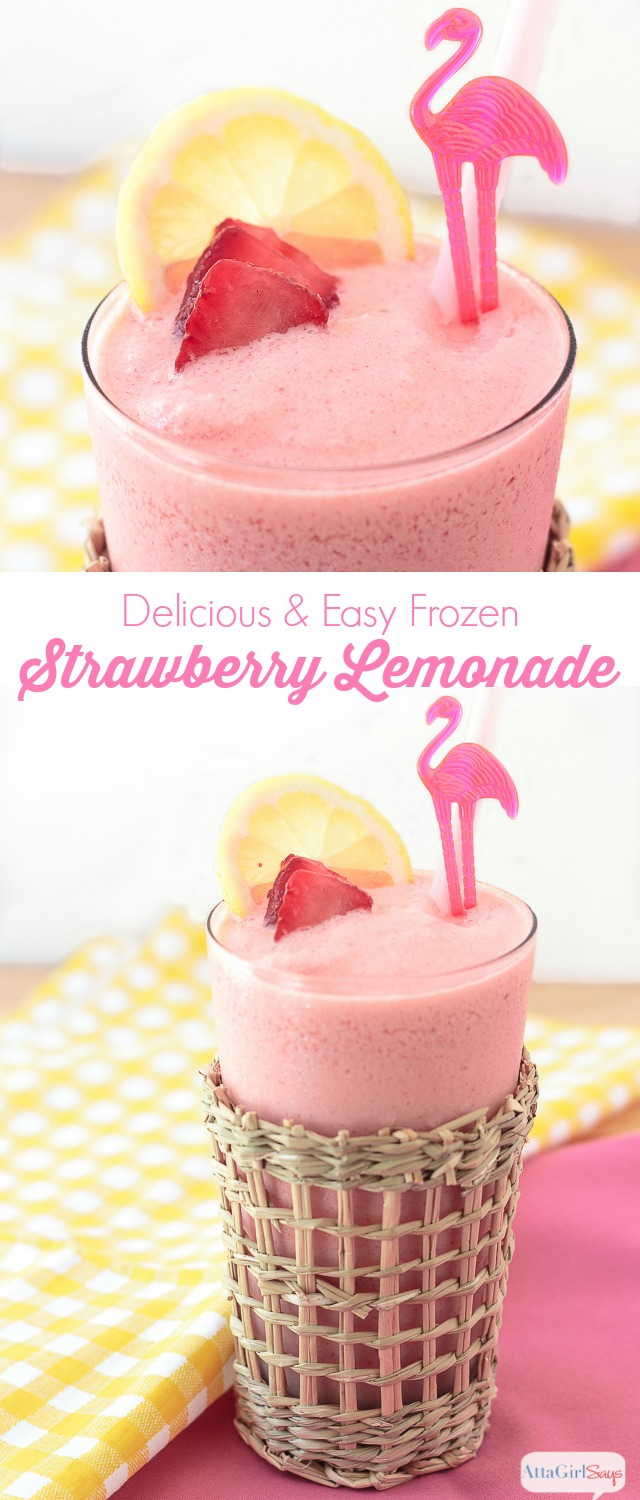 frozen strawberry lemonade in a glass with a flamingo cocktail stirrer