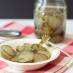 homemade sweet pickle on a fork