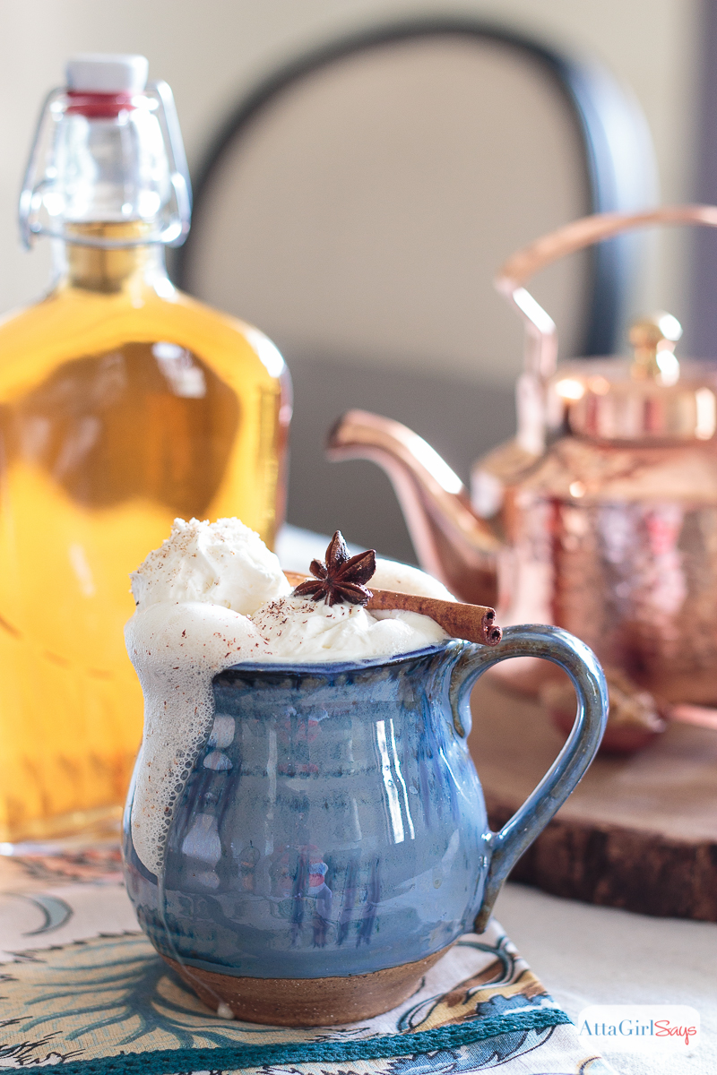 For those chilly fall days, mix up a hot buttered rum cocktail made with homemade infused spiced rum. Click for recipe for the hot buttered rum mix and the infused rum. @ajastro Atta Girl Says for @worldmarket #worldmarket #ad #worldmarkettribe