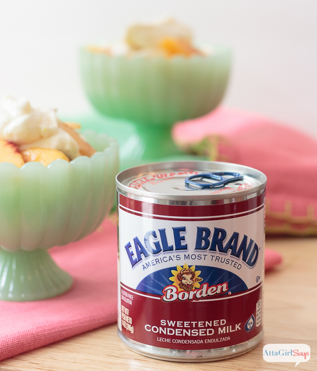 """Eagle Brand Sweetened Condensed Milk is the """"magic"""" ingredient in this peach trifle icebox cake recipe."""