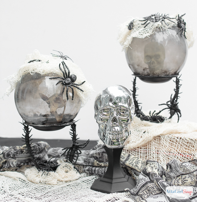 crystal balls with skulls in them for Halloween