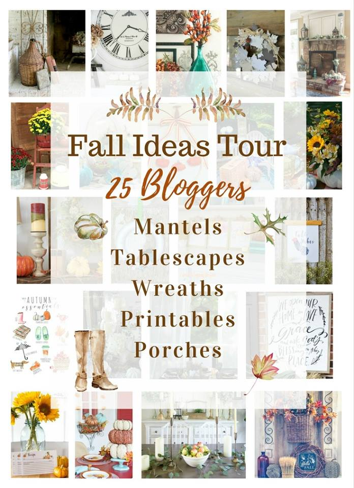 Join 25 bloggers as we share fall decorating and craft ideas. Get inspiration for decorating your fall mantel, your dining room table and your porch for fall. You'll also learn how to make gorgeous fall wreaths and don't miss our free fall printables.