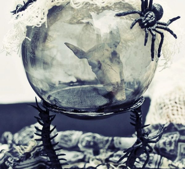 rat skull in a crystal ball Halloween decoration