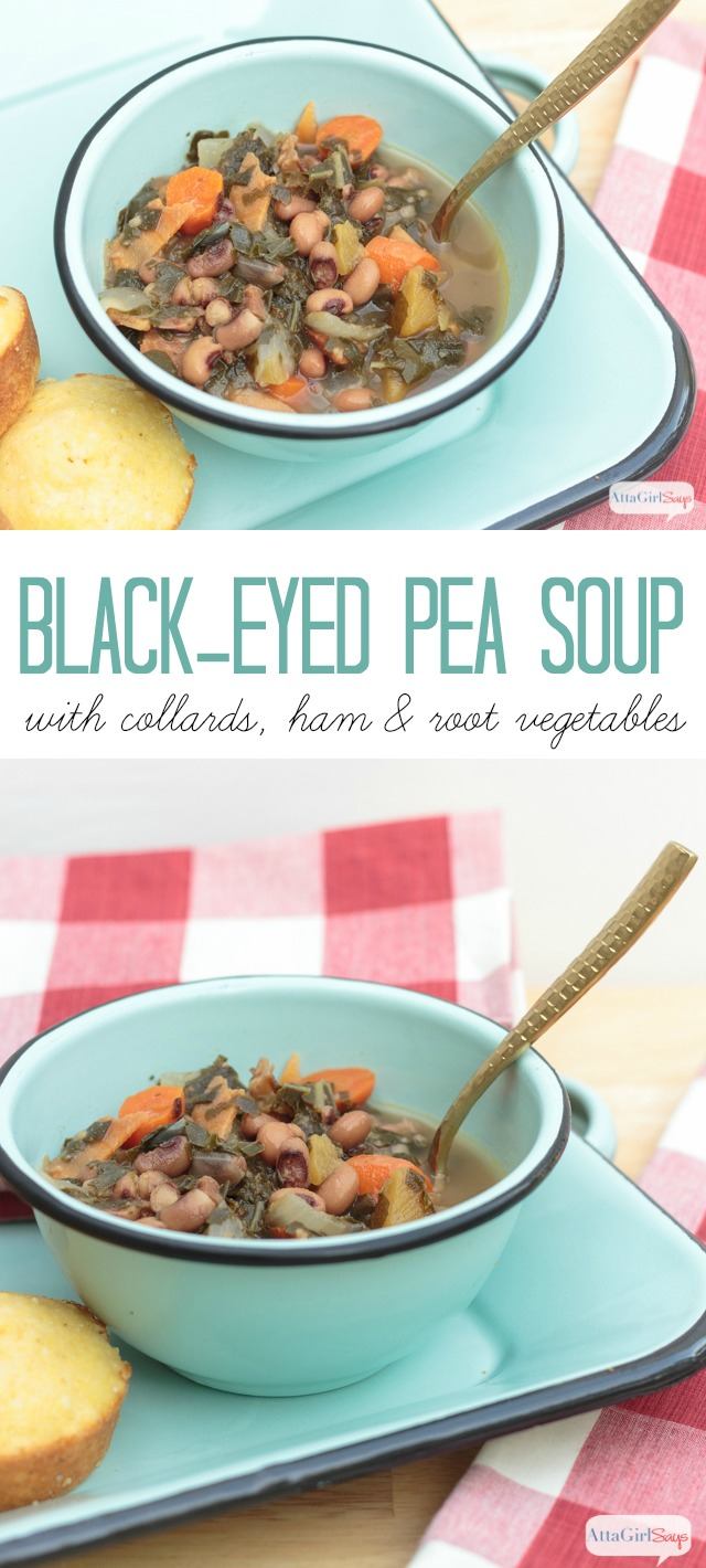 collage photo of black-eyed pea soup with collards, ham and root vegetables