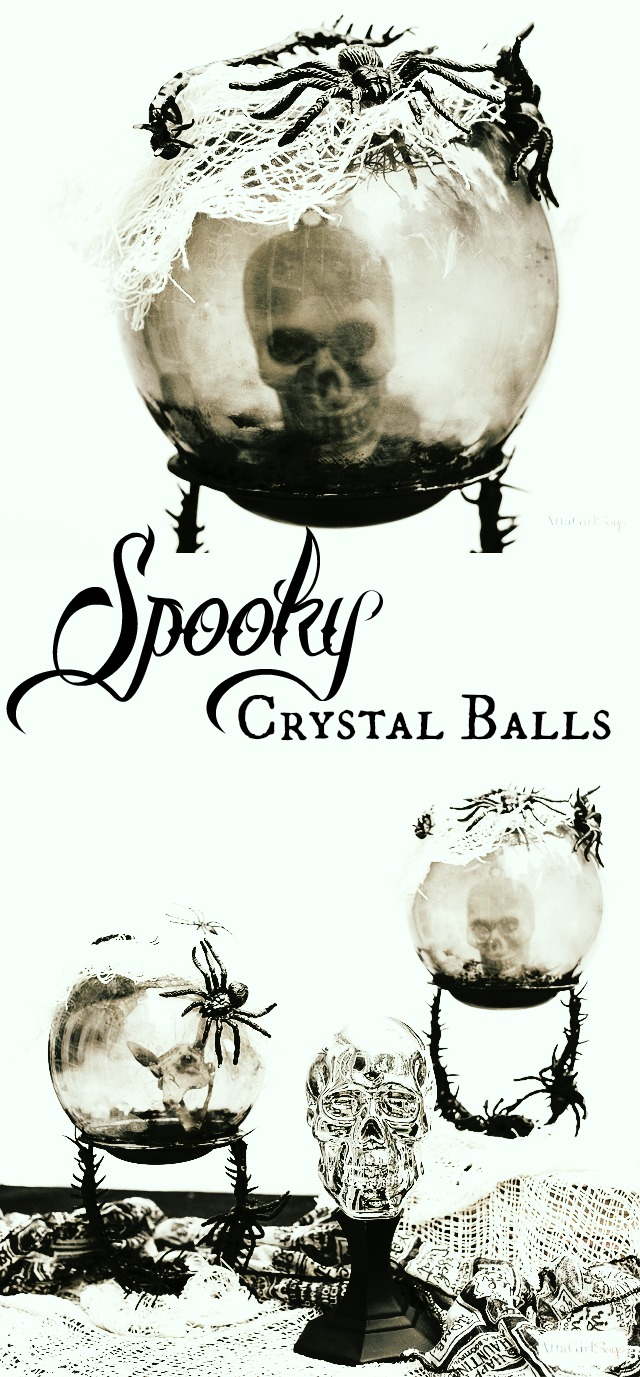 Halloween crystal balls with skulls in them made from dollar store items