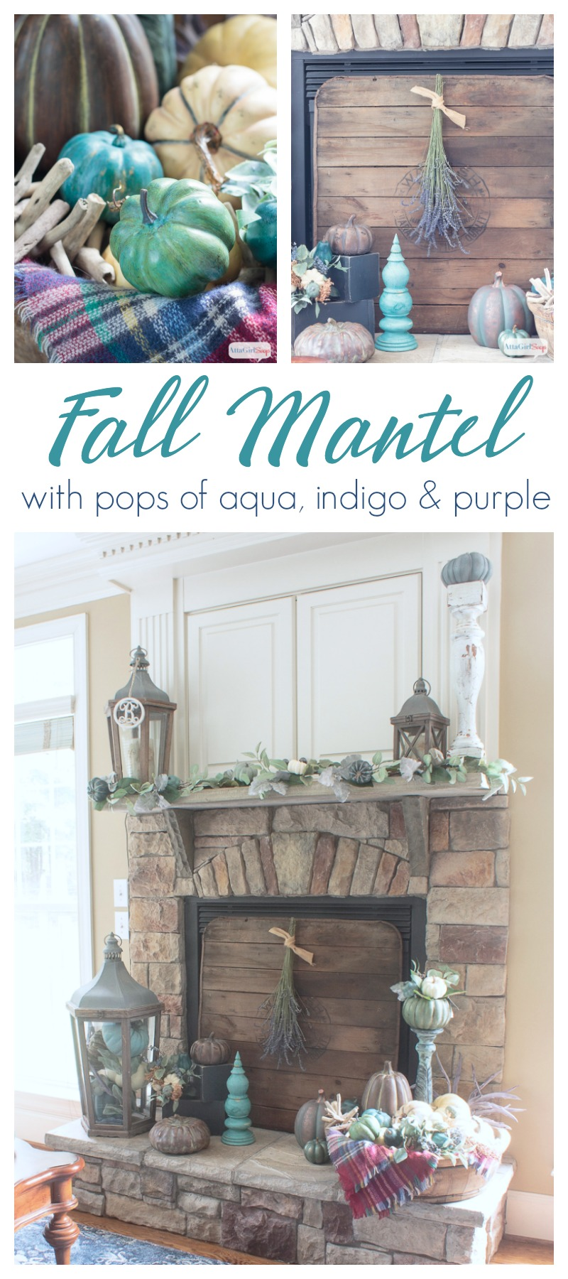 A cozy plaid blanket scarf inspired my fall fireplace mantel decor. Rather than traditional orange and yellow, I decorated with pops of aqua, indigo and purple. Be sure to click to see more gorgeous fall mantels.