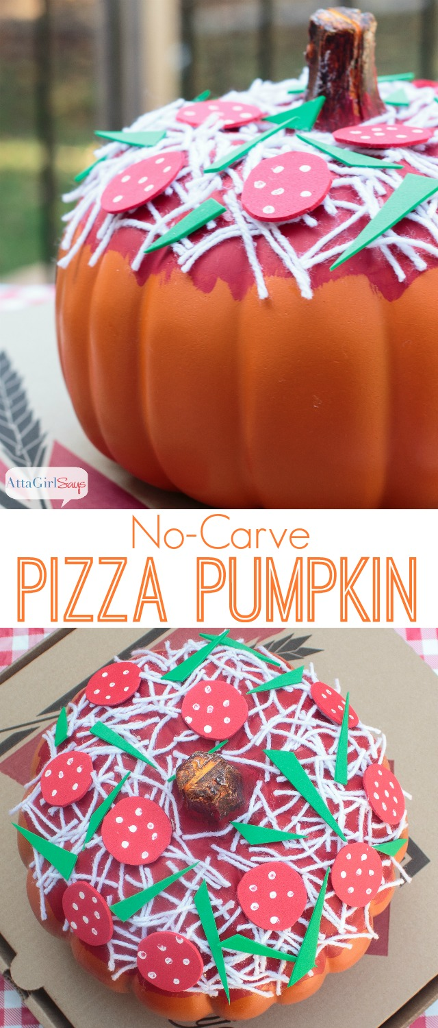 If you're looking for cute, no-carve Halloween pumpkin ideas that you can do with kids, check out these adorable pizza pumpkins. Paint on the sauce and use yarn and craft foam to add your favorite toppings